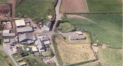 aerial view of Caerfai Farm, Campsite and Cottages. Click to return to farm page
